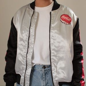 Fun Coca Cola Silver, Black, and Red Bomber Jacket